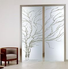 Albero Frameless Pocket Doors - contemporary - interior doors - - by Modernus Just Beautiful! Etched Glass Door, Frosted Glass Door, Sliding Glass Door, Glass Doors, Sliding Doors, Front Doors, Glass Design, Door Design, Contemporary Interior Doors