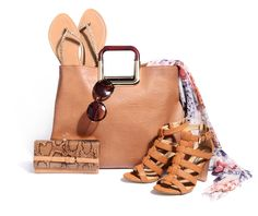 Tan accessories are this season's hot trend. Try them with a pretty white summer dress.