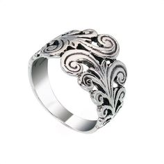Filigree Band Sterling Silver Women Ring by jewelkingthai on Etsy, $16.00