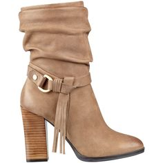 GUESS Tamsin Boots ($68) ❤ liked on Polyvore featuring shoes, boots, ankle booties, ankle boots, fringe bootie, fringe booties, guess booties and buckle bootie
