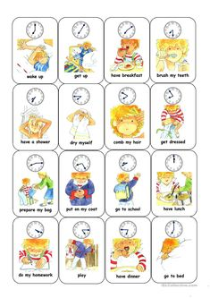 Time and daily routine card game daily routine kids, daily routine worksheet, daily routine English Games, English Activities, English Fun, Daily Activities, English Lessons, Learn English, Daily Routine Worksheet, Daily Routine Kids, Verb Worksheets