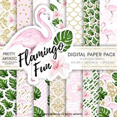 Flamingo Summer Digital Paper pack, Flamingo Digital Paper, Sticker Paper Pack, Watercolor Digital P Makeup Clipart, Makeup Themes, How To Clean Gold, Paper Illustration, Gold Paper, Pink Flamingos, Sticker Paper, Printing Services, Color Mixing
