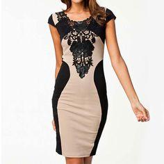 Contrast Color Black Lace Flower Cap Sleeve Bodycon Dress