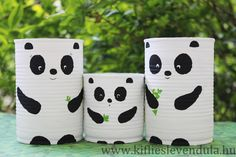 Tin can pandas Tin Can Crafts, Diy Home Crafts, Garden Crafts, Diy Crafts For Kids, Plastic Bottle Crafts, Diy Bottle, Recycled Art Projects, Recycled Crafts, Diy Room Decor For Teens