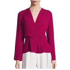 Elizabeth and James Layla Peplum Blouse (18.845 RUB) ❤ liked on Polyvore featuring tops, blouses, shiraz, elizabeth and james blouse, pleated top, elizabeth and james, pleated blouse and purple blouse