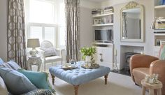 A stunning artwork inspired this neutral and blue living room  - housebeautiful.co.uk