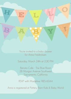 Banner baby shower invitation