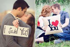 Ideas para las fotos de preboda con carteles de amor