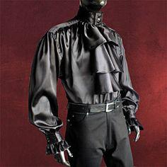Rüschenhemd schwarz Mittelalter Gewand Gothic Satin Hemd mit Rüschen/Jabot edel