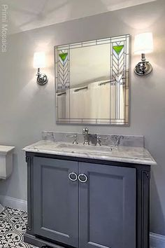 """Discover the bathroom wall mirror """"Francesco,"""" a square vanity mirror inspired by Frank Lloyd Wright that will add an elegant touch to your home décor. See more. . . . #FrankLloydWright #mirrorwalldecor #midcenturymirror #homedecor Craftsman Decor, Modern Craftsman, Mirror Mosaic, Wall Mirror, Mosaic Art, Art Deco Decor, Wall Decor, Silver Wall Art, Modern Bathroom Decor"""