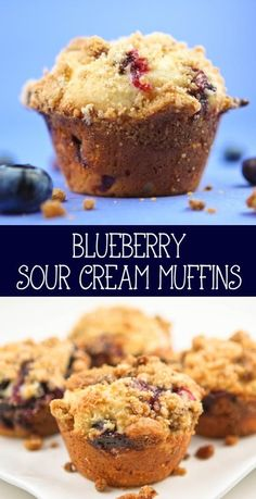 Blueberry Sour Cream Muffins - the sour cream in these muffins makes them super moist and tasty! Sponsored by Daisy Sour Cream #DollopOfDaisy  #ad