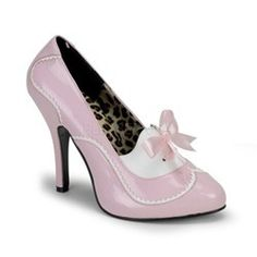 8da4cba65 Bordello Tempt 02 Baby Pink and White Patent Mini Concealed Platform Sexy  Mid Heel Court Shoes