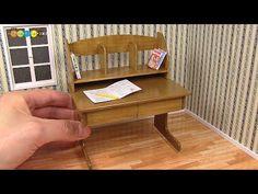 DIY Dollhouse items - Miniature Study Desk ミニチュア学習机作り - YouTube
