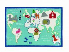 Around the World Betoverend speelkleed van designers guild gemaakt uit wol. Het vloerkleed is vlek bestendig en slijtvast. Daarnaast super zacht en uitermate sterk voor jarenlang speel plezier. Buitengewoon mooi voor de jongenskamer met een afbeelding van de wereldkaart met verschillenden dieren.