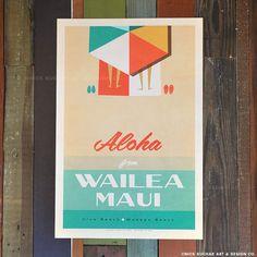 Aloha From Wailea Maui - Retro Hawaii Travel Print Hawaii Surf, Hawaii Travel, Hawaii 2017, Vintage Beach Posters, Vintage Tiki, Vintage Hawaiian, Vintage Art, Wailea Maui, Tiki Room