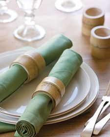 DIY Bamboo napkin rings (would love to paint these white or silver) - Martha Stewart