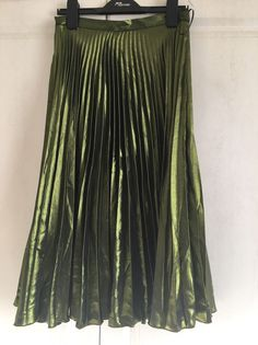 Pleated Olive Green Metallic Skirt in Clothes, Shoes & Accessories, Women's Clothing, Skirts | eBay!