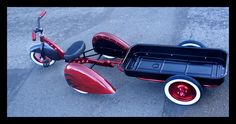 Kid Kustoms Enzo trike kit with custom wagon trailer prototype.