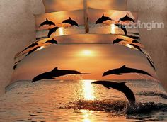 dolphins oil painting bedding set Luxury Duvet /quilt/comforter covers bed linen bedsheet bedcover sets King queen size-in Bedding Se. Comforter Cover, Duvet Bedding, Bed Duvet Covers, King Duvet, Duvet Cover Sets, Bedding Decor, Queen Duvet, Ocean Bedding, Cushion Covers