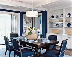 Beach Style Dining Room By Marcus Gleysteen Architects I Must Have This Color Navy Wall