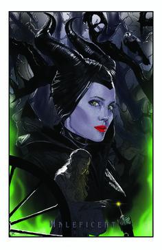 www.artof7r.com Maleficent Art poster - Angelina Jolie, Elle Fanning, Disney