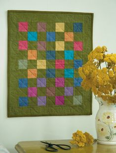 """Color-block beauty! Download this free """"One Patch Garden"""" quilt pattern by Karen Costello Soltys."""