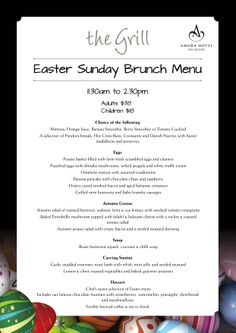 Don't miss out on our Easter Sunday Brunch Buffet! Book Now! Tel: 04 471 5711 or Email: restmgr@wellington.amorahotels.com http://www.wellington.amorahotels.com/d/wellington/media/easter_menu.pdf