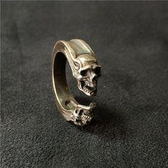 925 Sterling Silver Ring Gemini Skull por BroncoManor en Etsy