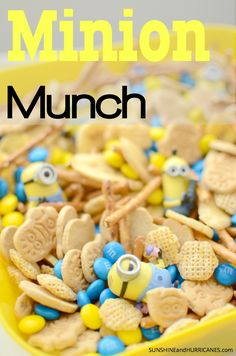 MINION MUNCH - Need a fun snack idea for a family movie night, party, or playdate? Despicable Me fans rejoice, this yummy mix is simple and fun! (Please don't eat the Minion toys!)