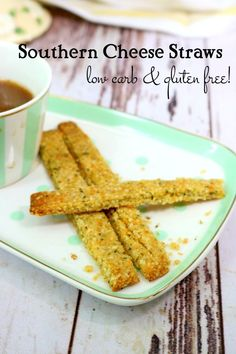Low carb cheese straws on a white snack plate with mint green dots - title image Lowest Carb Bread Recipe, Low Carb Bread, Best Low Carb Recipes, Keto Recipes, Snacks Recipes, Cheesy Recipes, Appetizer Recipes, Low Carb Appetizers, Low Carb Desserts