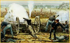 Fire at the Angle by Dale Gallon: Pickett's Charge, Gettysburg- Cushings Battery- 4th US Light Artillery, Battery A- Lt. A. Cushing