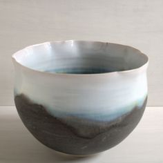 Large porcelain wheel-thrown bowl with delicate wavy rim. Glazed to bring to mind the early morning landscape. Serving Bowls, Collections, Ceramics, Landscape, Tableware, Crafts, Hall Pottery, Pottery, Dinnerware