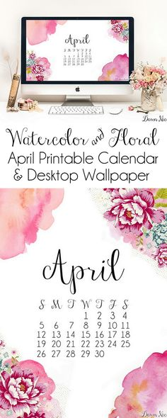 April Printable Calendar + Desktop Wallpaper. Dress up your home or office space with these free Watercolor & Florals April designs. | bydawnnicole.com