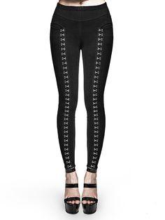 #AdoreWe #StyleWe PUNK RAVE Black Casual Metal Buckle Solid Pockets Skinny Leg Pants - AdoreWe.com