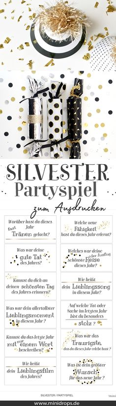 Silvester Jahresrückblick – Fragen zum Ausdrucken New Years party game. Looking back at the year as a fun. Fun Games, Party Games, Silvester Diy, Diy Wedding Veil, Saint Sylvestre, Annual Review, New Years Eve Party, Party Printables, Baby Shower