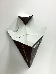 Cardboard cornet of French fries and sauce   FAICOM - Box and packaging / Cornet de frites et sauce en carton/ Cono de cartón para patatas fritas y salsa