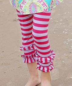 Love this a little posh Pink Stripe Ruffle Capri Leggings - Infant, Toddler & Girls by a little posh on #zulily! #zulilyfinds