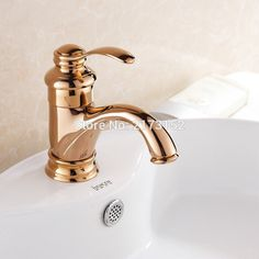 Free Shipping Solid Style Gold Finish Bathroom Faucet Luxury Rose Gold Brass Basin Sink Mixer Tap RG-004 #Affiliate