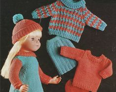 Dolls Clothes PDF Knitting Pattern : 12  22 inch Dolly and