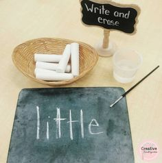 Easy no prep sight word center for kindergarten students. Write sight word in chalk then use a paintbrush dipped in water to paint over it. Sight Word Centers, Sight Word Practice, Sight Word Activities, Literacy Activities, Sight Words, Spelling Activities, Letter Activities, Language Activities, Math Resources