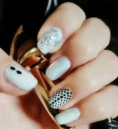 Dotted design by nails art.