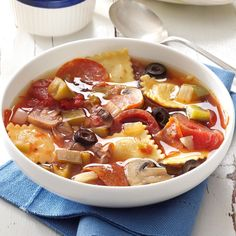 Pepperoni Pizza Soup Recipe -Once upon a time, my husband and I owned a pizzeria and this dish was always popular on the menu. We've since sold the restaurant, but I still make the soup for all kinds of potlucks and gatherings. It's always a big hit and everyone asks for the recipe. —Estella Peterson, Madras, Oregon