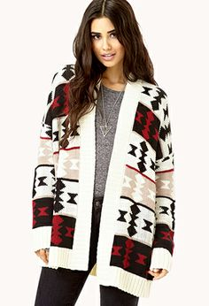 Comfy Open-Front Geo Cardigan | FOREVER21 Add some #geo pattern to your #knitted look #Cardigans