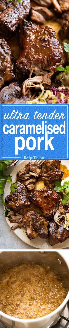 Ultra tender Brown Sugar Garlic Butter Roast Pork Recipe video above. Ultra tender pork with an insane caramelised crust and a buttery sweet-savoury sauce. The pairing of the sweet with the savoury is incredible in this pork roast! Caramelized Pork Recipe, Carne, Pork Recipes, Cooking Recipes, Recipies, Yummy Recipes, Healthy Recipes, Slow Roast Pork, Recipetin Eats