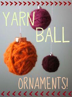 Yarn ball ornaments. #DIY, #crafts, #knitting