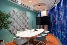 Avito Sales Department - Picture gallery 1 Office Interior Design, Office Interiors, Accent Colors, Flooring, Gallery, Russian Federation, Table, Furniture, Home Decor