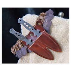 Wedding Garter, Steampunk Wedding Knife Garter with Leather Sheath and... ($39) ❤ liked on Polyvore featuring weapons