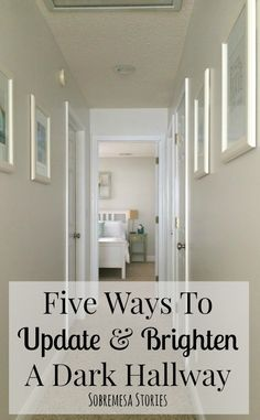 Five Ways To Update And Brighten A Dark Hallway Is your hallway dark and outdates? These five tips will help brighten up that dark hallway to make it feel more open and airy! Hallway Paint Colors, Hallway Walls, Upstairs Hallway, Best Paint Colors, Hallway Wall Decor, White Hallway Paint, Hall Way Decor, Wainscoting Hallway, Hallway Bench