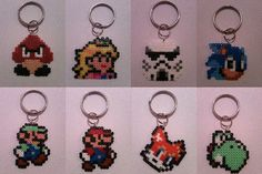 Perler bead keychains by The Crafty Kitty