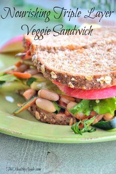 Nourishing Triple Layer Veggie Sandwich